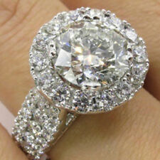 Women Fashion Jewelry Round Crystal Engagement Wedding Ring Jewelry Gift 6A