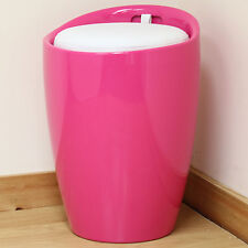 Pink ABS White Faux Leather Ottoman Hidden Storage Stool/Seat/Tub/Chair/Bedroom