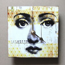 Small square wall clock.  Digital face.  Fornasetti inspired.