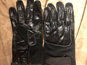 Law Enforcement Black Leather Full Finger Sap Gloves With Steel Knuckles X-LARGE
