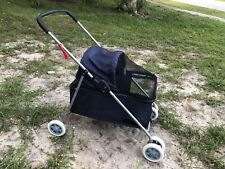 Pet Stroller 4 wheels Foldable Travel System Stroller Buggy Cat/dog  Navy Blue