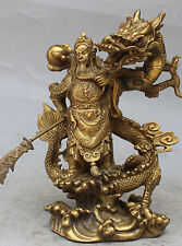Chinese Fengshui Bronze Guan Gong Yu Warrior God Sword Stand on Dragon Statue