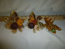 Lot of 3 Vintage Picks Fall Clusters Fruit Corsage Floral Craft Christmas CAFI