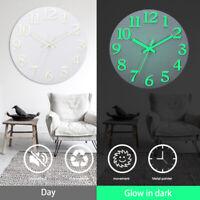 12''  Luminous Wall Clock Glow In The Dark Silent Quartz Indoor Outdoor Home