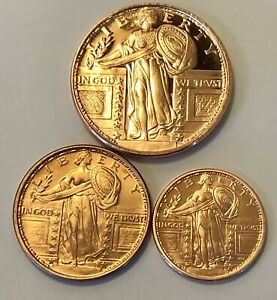 1 Oz, 1/2 Oz & 1/4 Oz Copper Rounds; Standing Liberty; Uncirculated.