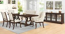 "ANTIQUE JAVA BROWN 104"" FORMAL DINING TABLE CREAM CHAIRS & BENCH FURNITURE SET"