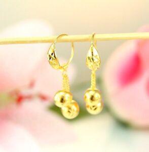 22K THAI BAHT DP YELLOW GOLD ~ DIAMOND CUT BEAD DROP DANGLE PETITE HOOP EARRINGS
