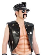 Mens 70s 80s Gay Village Biker Fancy Dress Costume Waistcoat Hat & Moustache NEW
