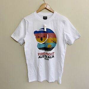 Fire Fight Australia 2020 Cotton On T-Shirt White Mens XXS (Fits Small)