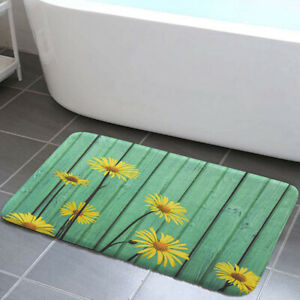 Wooden board and yellow daisies Shower Curtain Toilet Cover Rug Mat Contour Rug
