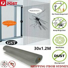 ❤️1.2 x 30M Roll Insect Flywire Window Fly Screen Net Mesh Flyscreen ASH Grey AU
