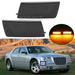 LH+RH LED Smoked Front Side Marker Light Indicator For Chrysler 300C 2004-2012