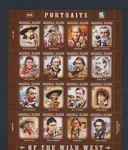 XC89441 Marshall Islands portraits wild west XXL sheet MNH