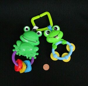Baby Einstein Hanging Frog Rattle And Friend Tummy Time Baby Fun Toy, Green