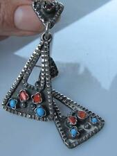 Vintage TS Taxco Silver Sterling 925 Handmade Earrings Coral & Turquoise Mexico