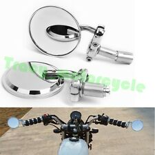 "PAIR OF CHROME MOTORCYCLE 7/8"" HANDLE BAR END REARVIEW MIRRORS 3"" ROUND ALUMINUM"