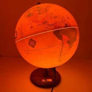 "Cram's Light Up Antique World Globe 12"" 1990's Desktop Wood Base EUC"