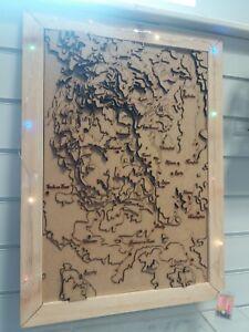 3d Derbyshire / Peak District framed topographic map
