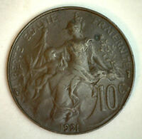 1921 France 10 Cent Centimes Bronze Coin YG