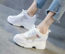 Womens Platform Hidden Wedge Mesh Trainers Sneakers Boots Chunky Sports Shoes