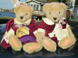"VINTAGE TEDDY BEAR PAIR LOT TWO NORTH AMERICAN CO FLUFFY FUZZY 13"" PLUSH W TAG"