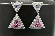 Sterling Silver Halo Trillion Pink Sapphire Amethyst Sapphire Dangle Earrings