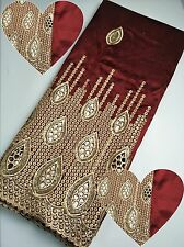 Wine Red Silk African George Lace Fabric Sequin Nigeria Lace Fabric Bridal Dress