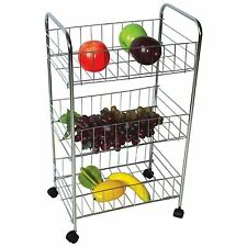 3 Tier Fruit Vegetable Trolly Storage Rack Kitchen With Wheels Heavy Duty Steel