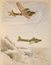 Boeing B17G Flying Fortress/Fall Landscape 2-Sided W/C Painting-I.L. Winarsky