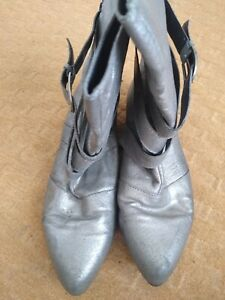 Shelly's Silver Ankle Boots Size 4 UK