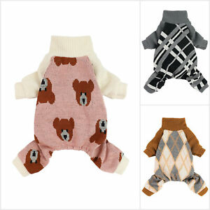 Fitwarm Dog Pajamas Thermal Knitted Pet Clothes Doggie Turtleneck PJS Sweater