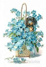 Dachshund Blue Flowers Crazy Quilt Block FrEE ShiPPinG WoRld WiDE c