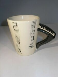 """Interesting White with Black Collector's Mug """"Piano"""" Design for the Music Lover!"""