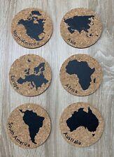 Korkuntersetzer mit dekorativem Kontinent-Weltkarten-Design 6er-Set