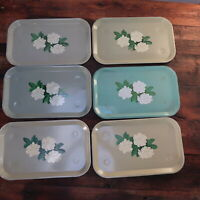 "Lot of 6 Vintage Turquoise Floral Metal Serving Trays 14"" x 8.5"""