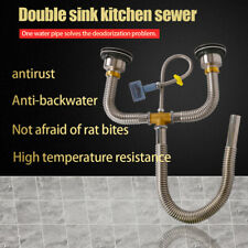 Double Bowl Drain Kitchen Sink Pipe Hose Fitting Plumbing Replacement Part Set