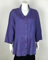 FLAX Women's Blouse 100% Linen Large Solid Purple Button Down Shirt 3/4 Sleeves