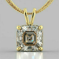 2.93Ct Asscher cut Solitaire Diamond Pendant Solid 14K Yellow Gold/ No chain