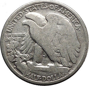 1937 WALKING LIBERTY Half Dollar Bald Eagle United States Silver Coin i45150