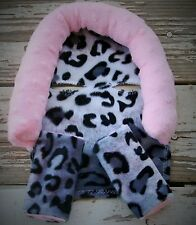 infant headsupport and strap covers snow leopard with baby pink minky