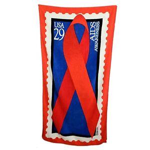 1993 USPS 29c Stamp Beach Towel AIDS Awareness Red Blue Renaissance Bath Sheet