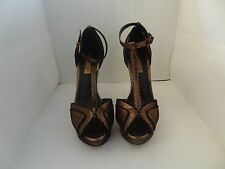 BCBG MAX AZRIA WOMENS gold STILETTO SHOES SIZE 5.5 FLORRIE HIGH HEEL EUC