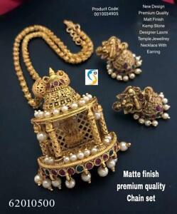 Gold Plated Indian Traditional Bollywood CZ AD New Pendent Necklace Earring bapi
