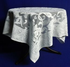 "White Quaker Lace Tablecloth Table Topper Paisley 36"" x 36"" Cotton Blend"