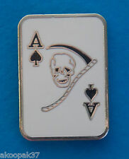 ACE OF SPADES GRIM REAPER  LAPEL BADGE ENAMEL AND SILVER PLATED 25MM HIGH