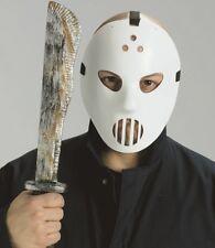 Halloween Fancy Dress Large Fake Machete & Hockey Mask Set Jason New p