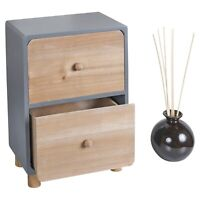 Grey & Brown MDF Cabinet with 2 Drawers Office Storage Unit Furniture Desk Home