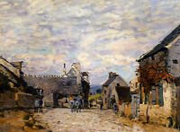 """Stunning Oil painting Alfred Sisley - Village Street, Louveciennes landscape 36"""""""