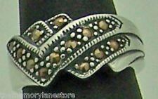 Silver Band Ring, Size 6.25 Handsome Estate Tri-V Marcasite Sterling