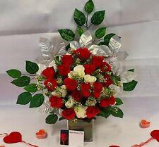 Artificial Red White Rose Bouquet Silk Flowers 2 Dozen Flower Wedding Valentine